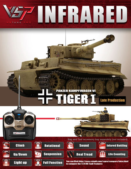 VsTank Pro German Tiger I Infrared RC Tank, Late Production, Desert Brown