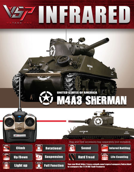 VsTank Pro M4A3 Sherman Infrared RC Tank, Green with Hard Tread