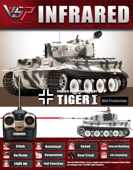 VsTank Pro German Tiger I Infrared RC Tank, Winter