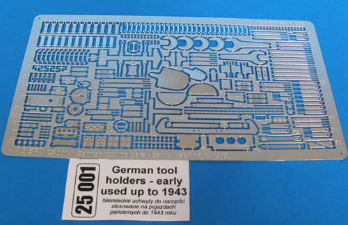 1/24 or 1/25 Scale Photo Etch German Early Tool and Holder Kit