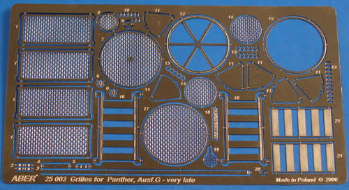 1/25 German Panther G Photo Etche Grilles Set