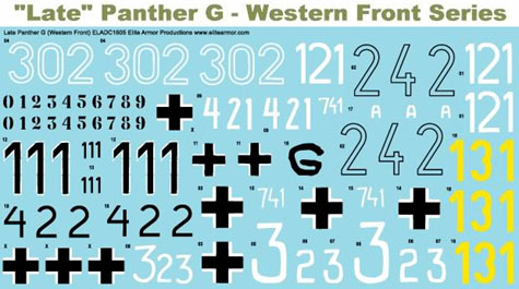 1/16 Decals for German Panther G Tank, Western Front