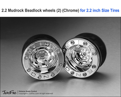 GMade 2.2 Mudrock Beadlock wheels, Chrome