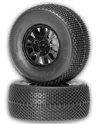 JConcepts Subcultures, green compound on black wheel, SC10 Rear
