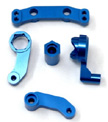 Machined Aluminum Steering bellcrank set for SC10, Blue