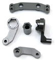 Machined Aluminum Steering bellcrank set for SC10, Gun Metal