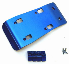 Machined Precision Alum. Front Skid Plates for SC10, Blue