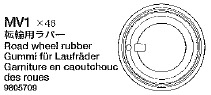 Tamiya 1/16 RC Road Wheel Rubber for Tiger I