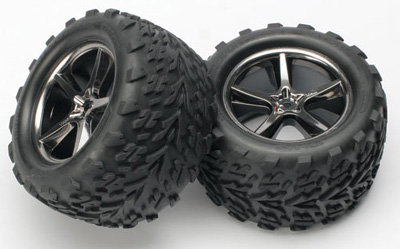 Traxxas Talon Tires on Gemini Wheels (Black Chrome). For 1/10 E-Revo