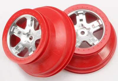 Traxxas - Satin/Red Wheels for Slash