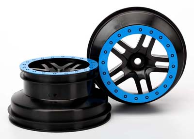 Traxxas - Black/Blue Split Spoke Wheels for Slash