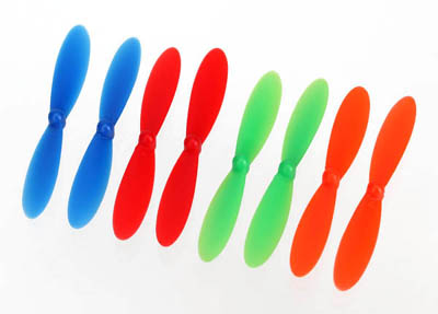 Traxxas Rotor Blades for QR-1 Helicopter, Red/Blue/Green/Orange