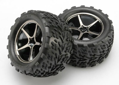 Traxxas Talon Tires/Rims on Black Chrome Wheels for 1/16 E-Revo