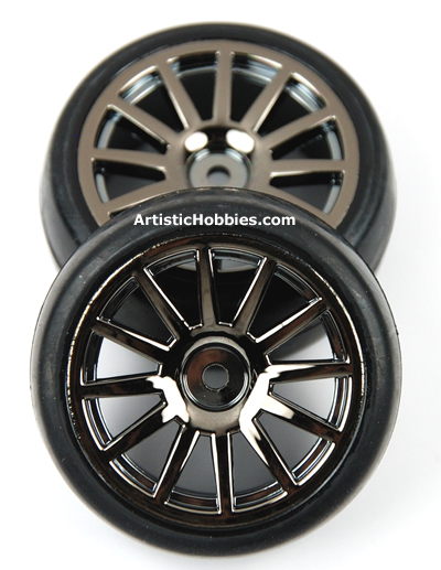 Traxxas LaTrax 12 Spoke Wheels and Slick Tires, Black Chrome