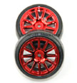 Traxxas LaTrax 12 Spoke Wheels and Slick Tires, Red