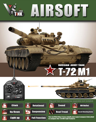 VsTank Pro Russian T-72 M1 Airsoft RC Tank, Desert Brown